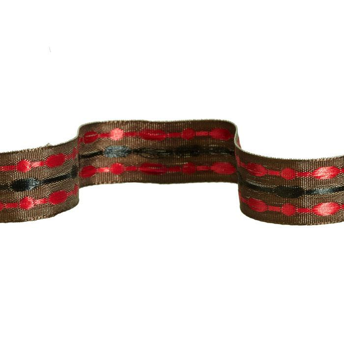 "5/8"" Jacquard Ribbon Satin Stitches Brown/Red/Black"