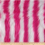 208412 Fun Shag Faux Fur Ribbon Stripes Hot Pink/White