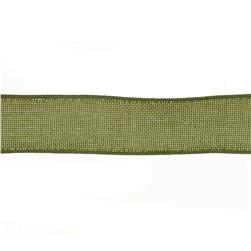 "1 1/2"" Faux Burlap Wired Ribbon Olive"