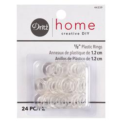 "Dritz Home 1/2"" Plastic Rings 24/Pkg-Clear"