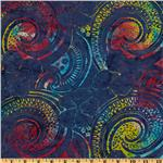 "108"" Wide Tonga Batik Quilt Backing Nautilus Rainbow Periwinkle"