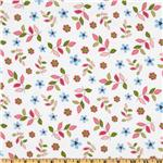 Bonny Bloom Flannel Leaves & Flowers White/Pink
