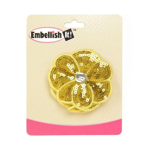 Jeweled Posey Sequin Brooch 2-1/2'' Yellow