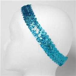 "1 1/4"" Hologram Sequin Stretch Headband Turquoise"