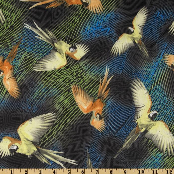 Designer Stretch Twill Birds of Paradise Green/Multi