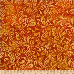 Moda Color Crush Batiks Leaf Copper