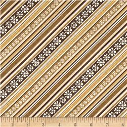 Jingle Bell Snowmen Diagonal Stripe Ivory/Tan