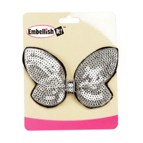 "Butterfly Bow Sequin Applique 3.75"" x 2.5"" Silver"