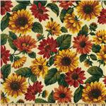 Floral Sunflower Orange/Cream