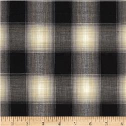 Designer Stretch Shirting Plaid Black/Ivory