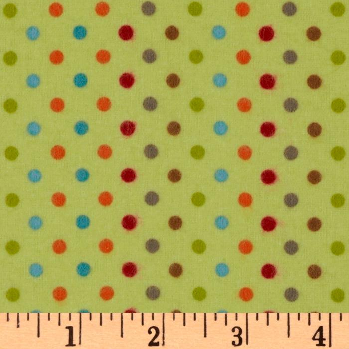 Fox Trails Flannel Dots Lime