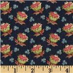 0273310 Bread and Butter Tossed Flower Buds Navy