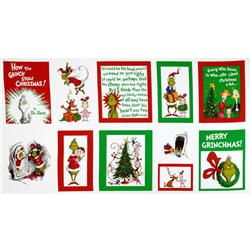 Kaufman How The Grinch Stole Christmas Merry Grinchmas Quilt Panel Multi