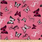 0274768 April's Garden Butterfly Allover Hot Pink