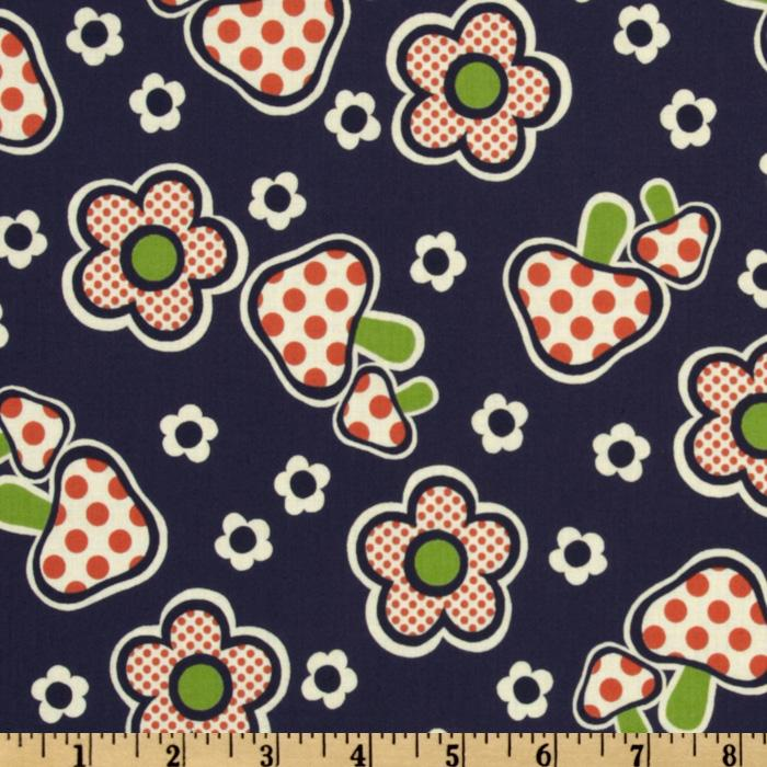 Kokka Trefle Daisy &amp; Mushroom Navy