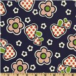 FK-585 Kokka Trefle Daisy &amp; Mushroom Navy