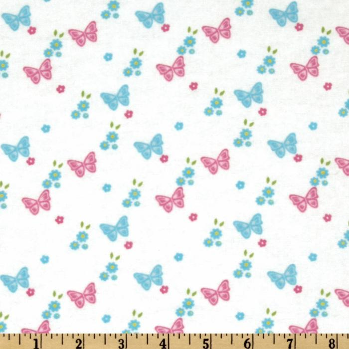 Day in the Park Flannel Butterflies & Flowers White
