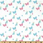 Day in the Park Flannel Butterflies &amp; Flowers White