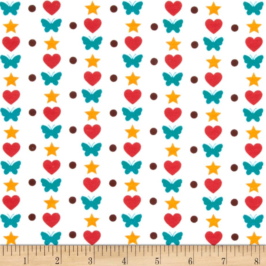 Printed Cotton Jersey Knit Hearts & Butterflies White/Multi