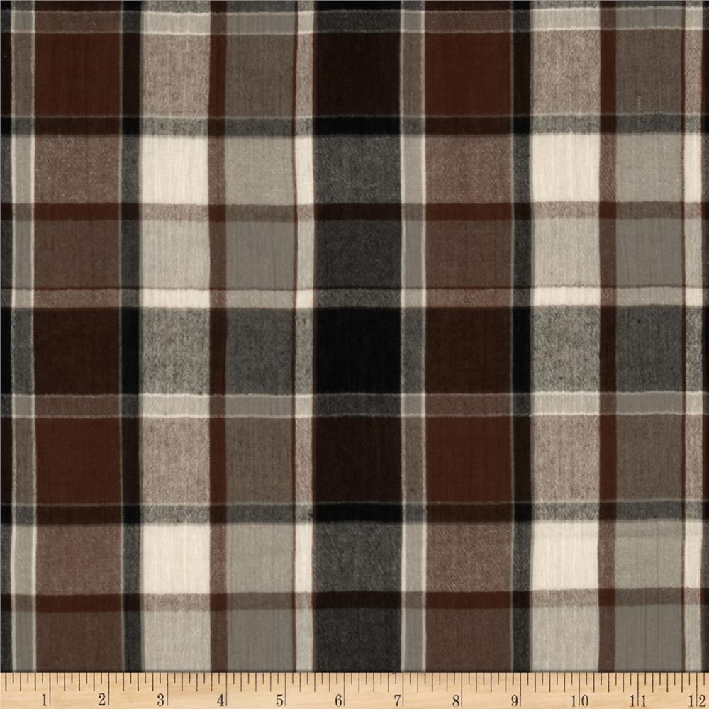 Breezy Crinkled Cotton Gauze Plaid Brown/Black
