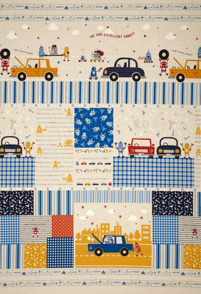 Kokka Trefle Petite Ecole Cotton/Linen Canvas Block Print Blue