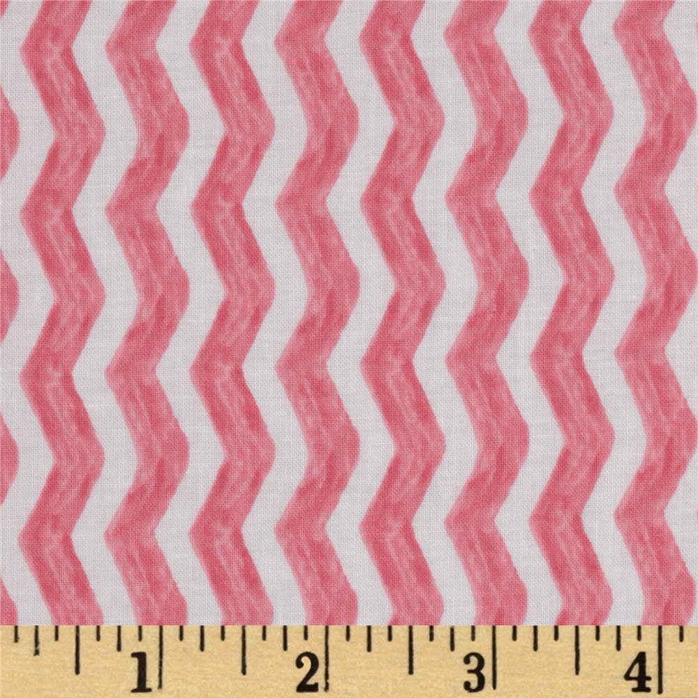 Michael Miller Out To Sea Water Chevron Blossom Pink