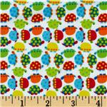 0283435 Timeless Treasures Minis Flannel Turtles White