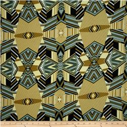 Designer Stretch ITY Abstract Grey/Gold