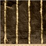 Faux Fur Striped Mink Brown