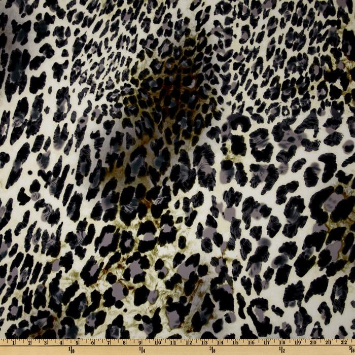 Stretch Cotton Sateen Leopard Black/Grey