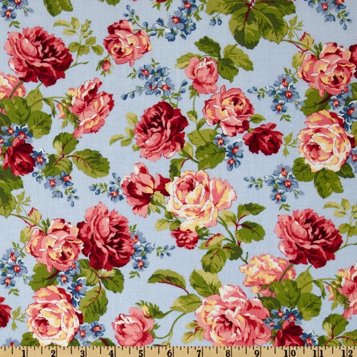 Rambling Rose Large Floral Blue