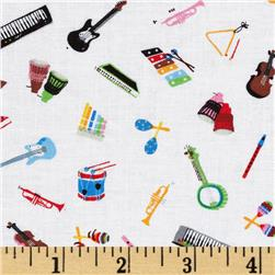 Timeless Treasures Mini Instruments White