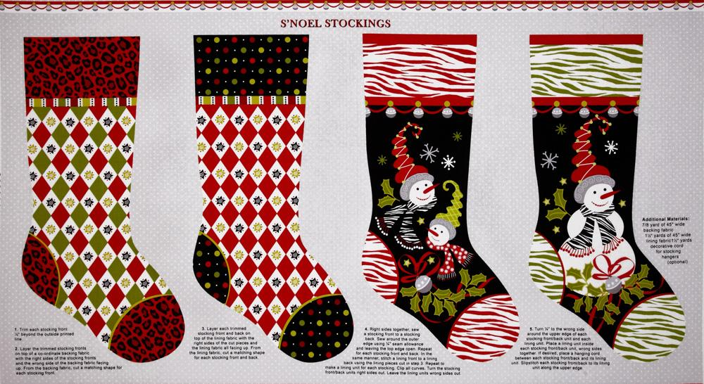 S'Noel Stocking Panel White