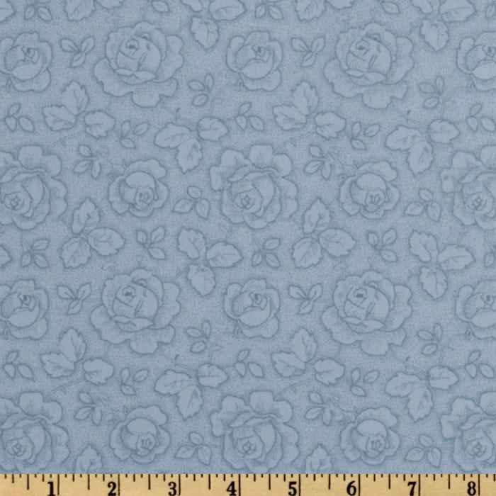 110'' Flannel Quilt Backing Roses Dusty Light Blue