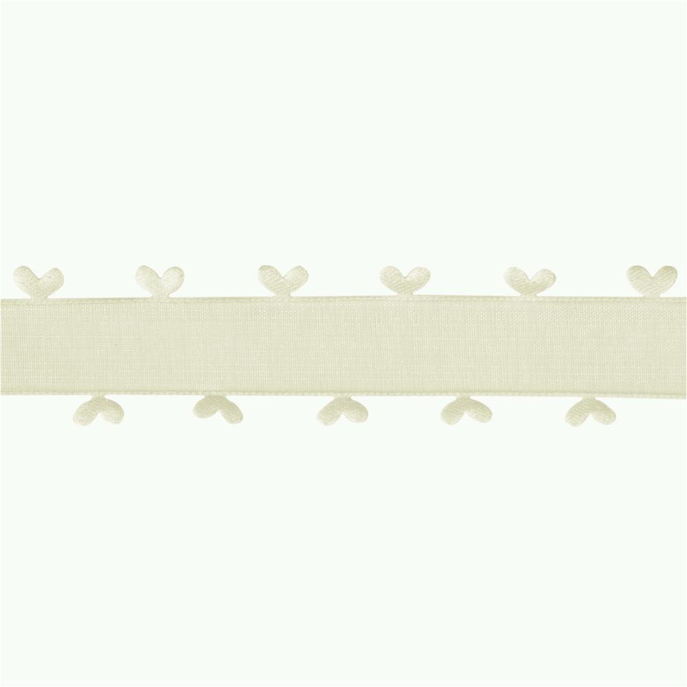 1&#39;&#39; Organza Ribbon Heart Edge Ivory