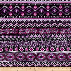 Stretch ITY Jersey Knit Abstract Black/Purple