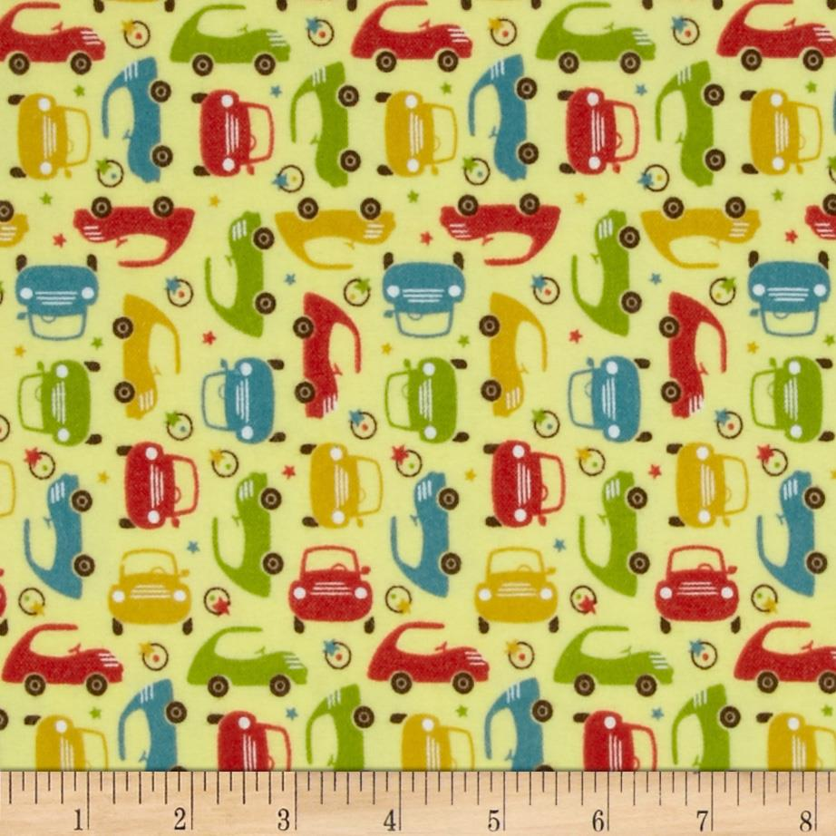 Riley Blake Cruiser Blvd Flannel Mini Cars Yellow