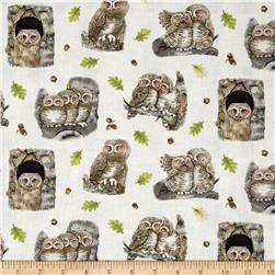 Hoo's Tree Owls In Tree Off White
