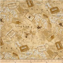Timeless Treasures Wine Lover Map Tan