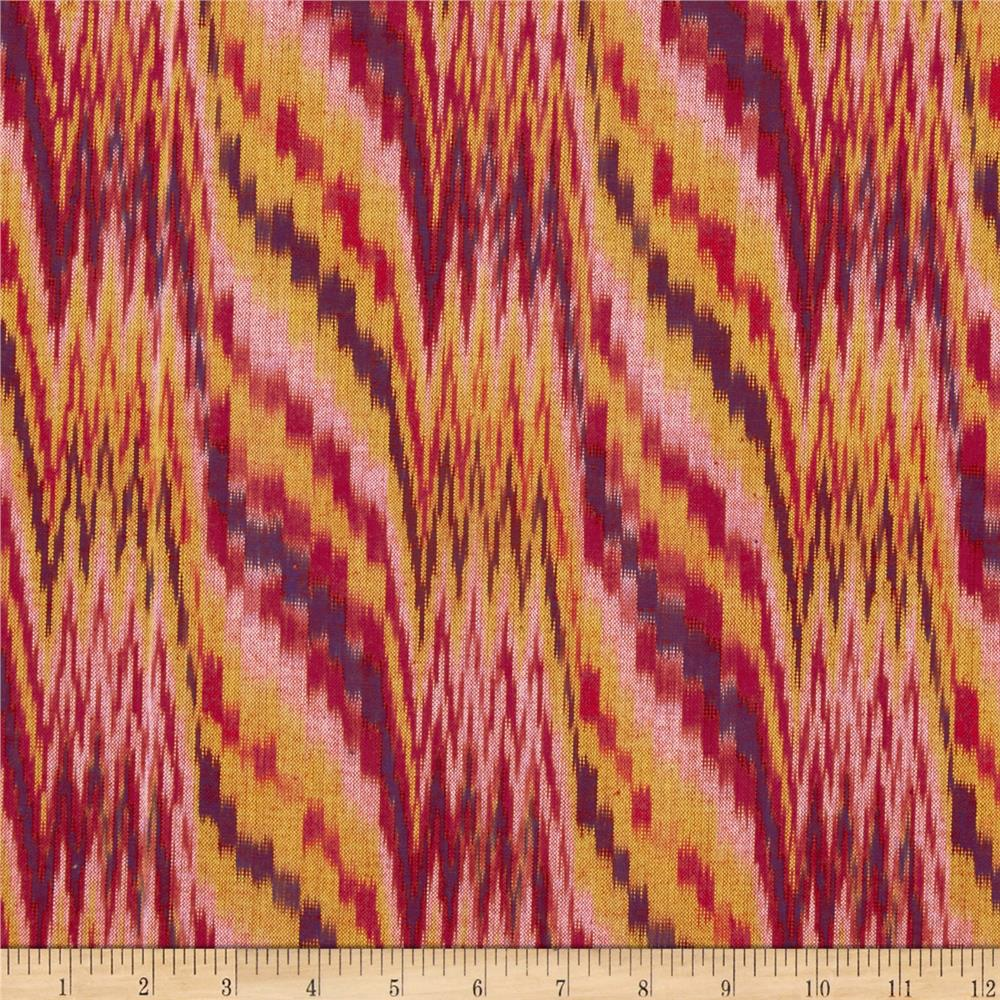 Seminole Yarn Dye Flamestitch Ikat Rust/Yellow/Natural
