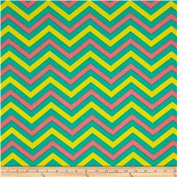 Stretch ITY Jersey Knit Small Chevron Green/Yellow