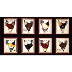 French Roosters Panel Black