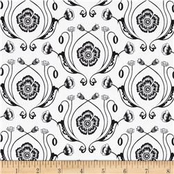 Poppy Patio Damask White Black
