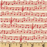 Moda Apple Jack Musical Notes Red