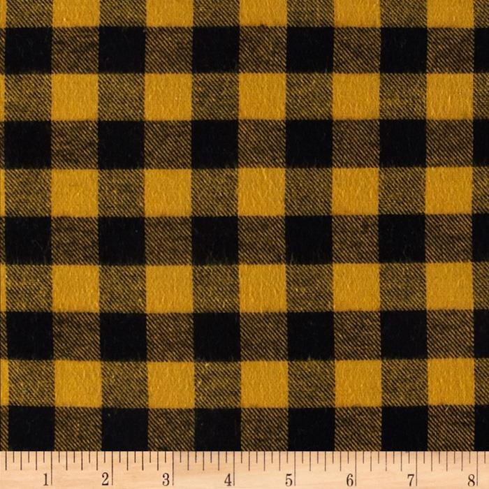 Yarn Dyed Flannel Check Mustard/Black