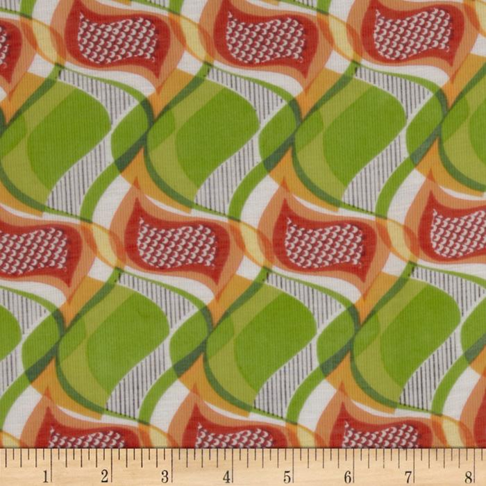 Jonquil Shirting Abstract Swirl Lime/Orange