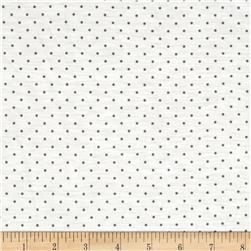Stretch Rayon Blend Jersey Knit Dots White/Grey