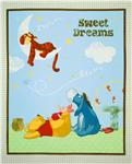FM-630 Sleepy Pooh Nursery Quilt Panel Mint Green