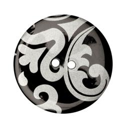 Fashion Button 1-3/8'' Damask Black/Silver