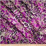 0278536 Satin Charmeuse Splotch Animal Spots Ultraviolet